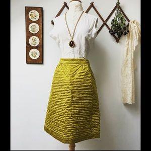Burberry • Textured Silk Knee Length Gold Skirt